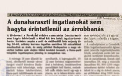 2000. december: Nívós családi házak ára 20-25 millió forint között van