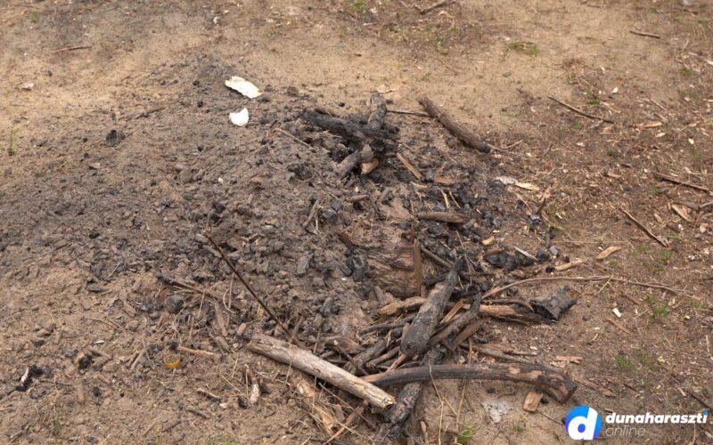 Tűzrakás nyomai az illegális motorpálya mellett az erdőben. fotó: dho
